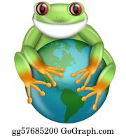 Tropical-Rainforest - Red-Eyed Green Tree Frog Hugging Planet Earth