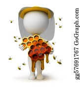 Bee-Hive - 3d Small People - Beekeeper