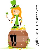 Leprechaun-Woman - Girl Sitting On A Pot Of Gold