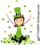 Leprechaun-Woman - Girl Playing With Clovers