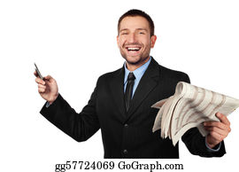 Laughing - Businessman With Newspapper And Cellphone. Isolated