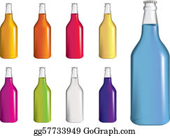 Pink-Lemonade - Set Of Fizzy Drinnk, Soda Or Alcopop Bottles