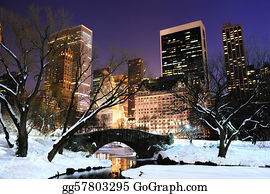 Freezing-Cold - New York City Manhattan Central Park Panorama At Dusk