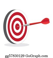 Bullseye - Image Of A Dart Hitting A Bullseye Target Isolated On A White Background.