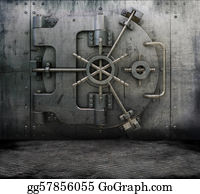 Bank-Vault - Grunge Interior With Bank Vault