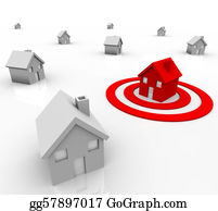 Bullseye - One House In Bulls-Eye Target - Marketing To Buyers