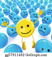 Sad - Yellow Jumping Smiley Between Sad Blues