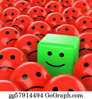 Sad - Green Cube Smiley Happy