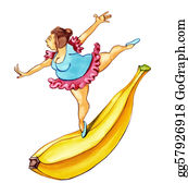 Overweight - Overweight Woman Dancing On Banana