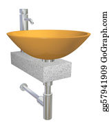 Plumbing - Orange Bowl Glass Or Ceramic Sink With Chrome Faucet And Plumbing Fixtures, Sitting On A Granite Table Or Slab, Isolated Against A White Background