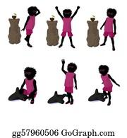 Tiki-Mask - African American Beach Girl Silhouette Illustration