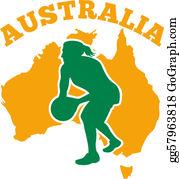 Australia - Netball Player Passing Ball With Map Of Australia