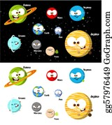 Solar-System - Cartoon Planets