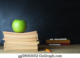 Teacher - School Blackboard And Teacher's Desk