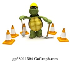 Spade - Tortoise With A Spade And Pick Axe With Hazard Cones