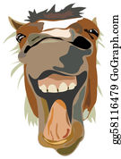 Laughing - Vector Illustration Of The Laughing Horse