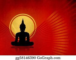 Buddhist - Black Buddha Silhouette
