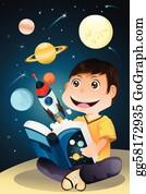 Astronomy - Boy Reading Astronomy Book