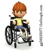 Sad-Child - Sad Cartoon Boy In Wheelchair.