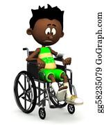 Sad-Child - Sad Black Cartoon Boy In Wheelchair.