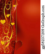Golden-Love-Hearts - Elegant  Red Background With Hearts And Stars