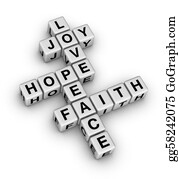Prayer-Symbol - Joy, Love, Hope, Peace And Faith