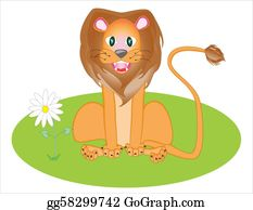 Growl - Illustration Is A Lion On A Grass.