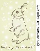 Falling-Snow-Background - Rabbit Standing On Hind Legs