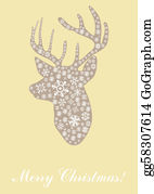 Merry-Christmas-Text - Head Of Deer