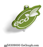 Eco-Friendly-Label - Eco Green Sign, Pushpin Like, For Eco-Friendly Message Over A White Background