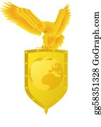 Badge - Eagle, Shield And Sword