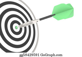 Bullseye - Green Dart Hitting The Target
