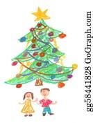 Christmas-Family - Children And Christmas Tree - Drawing