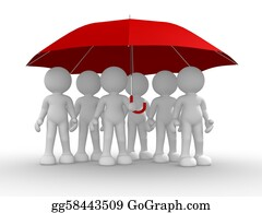 Umbrella - Group Of People Under The Umbrella