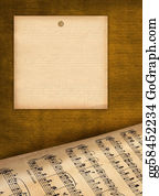 Sheet-Music - Framework For Invitations. Grunge Background. A Music Book.