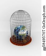 Wipeout - Earth In Cage Isolated On White Background. 3d