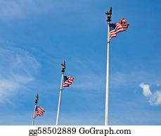 Military-Eagle-Emblem - Three American Flags Waving Proudly On Tall Flagpoles