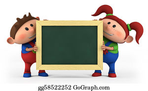 First-Day-Of-School - Boy And Girl With Blackboard