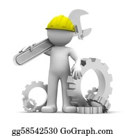 Repair - 3d Industrial Worker With Wrench An