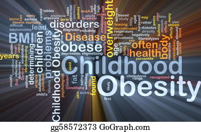 Overweight - Childhood Obesity Background Concept Glowing