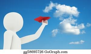 Throwing - 3d Man Flying Paper Airplane