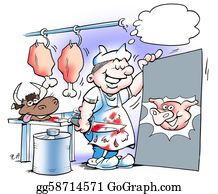 Butchers-Meat - Slaughterhouse Worker With A Pig S Head On A Poster