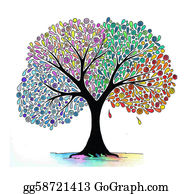 Four-Seasons - Illustration Of A Four Seasons Tree