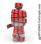 Wrap - Person Wrapped Up In Red Tape Of Bureaucracy Rules Of Order
