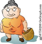 Aunt - Fat Old Woman Illustration