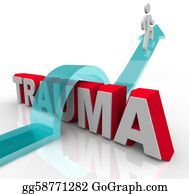Therapy - A Person Jumps Over The Word Trauma On An Arrow, Symbolizing The Positive Effects Of Theraphy And Rehabilitation As Well As A Good Attitude