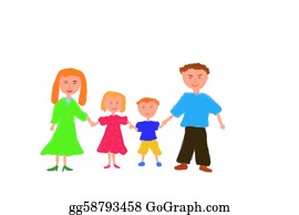 Illustration-With-Happy-Family - Family Painting