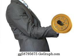 "Hard-Cash - Businessman Lifting Dumbbell Gold ""euro"""