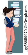 Sad-Child - Sad Girl Holding A Tower Of Books