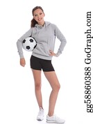 Tall-And-Short - Happy Soccer Player Teenage Girl With Sports Ball